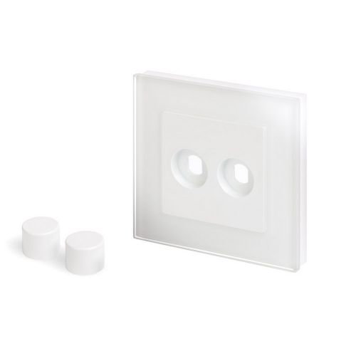RetroTouch 2 Gang LED Dimmer Plate White Glass PG 02072